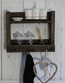 Baño Estantería Borte 452097 Shabby Vintage Madera Marrón Toallas De Mano rústico rústico: Amazon.es: Bricolaje y herramientas