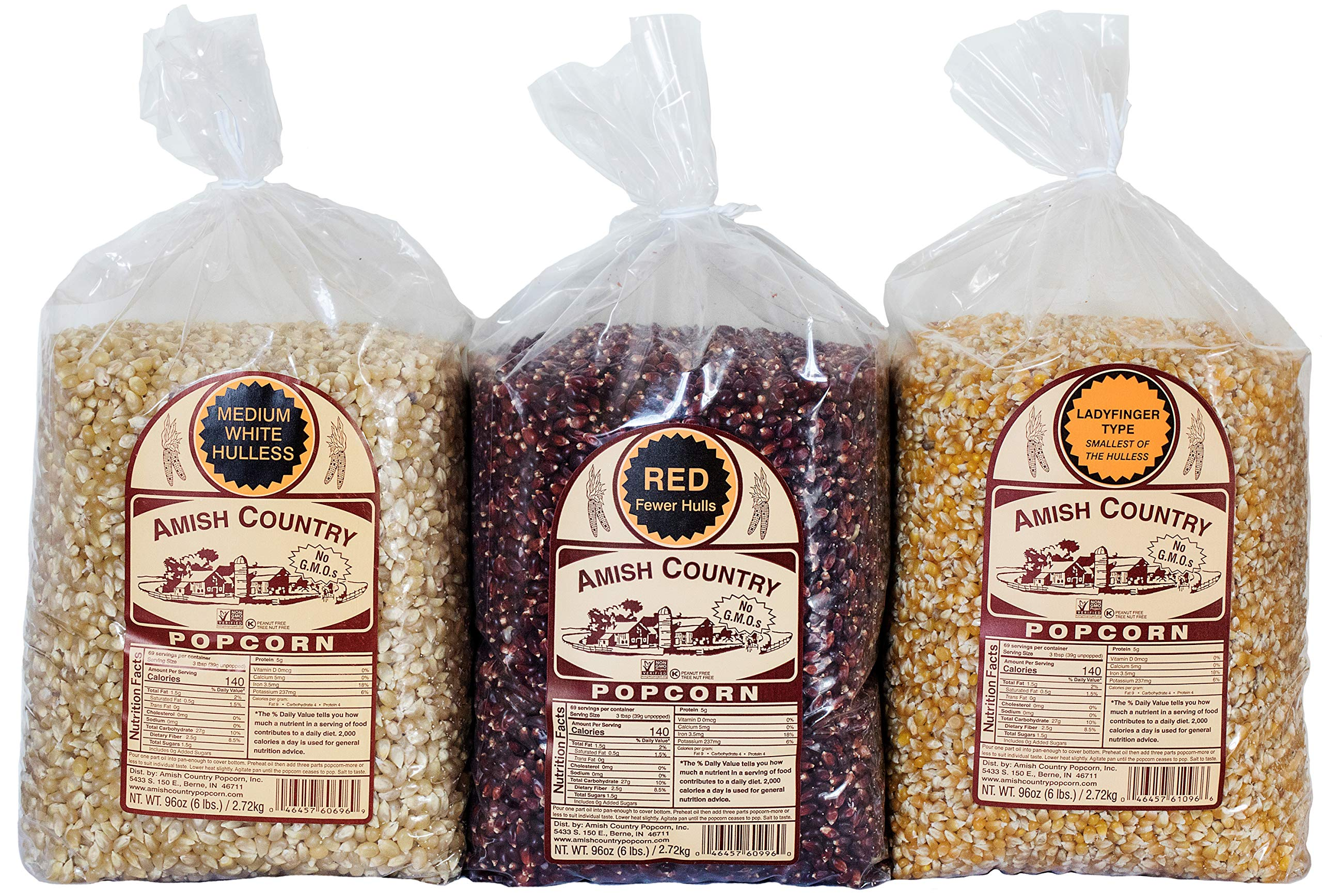 Amish Country Popcorn - 3 (6 Pound Bags) Red, Ladyfinger & Medium White Kernels - With Recipe Guide - Old Fashioned, Non GMO, and Gluten Free by Amish Country Popcorn
