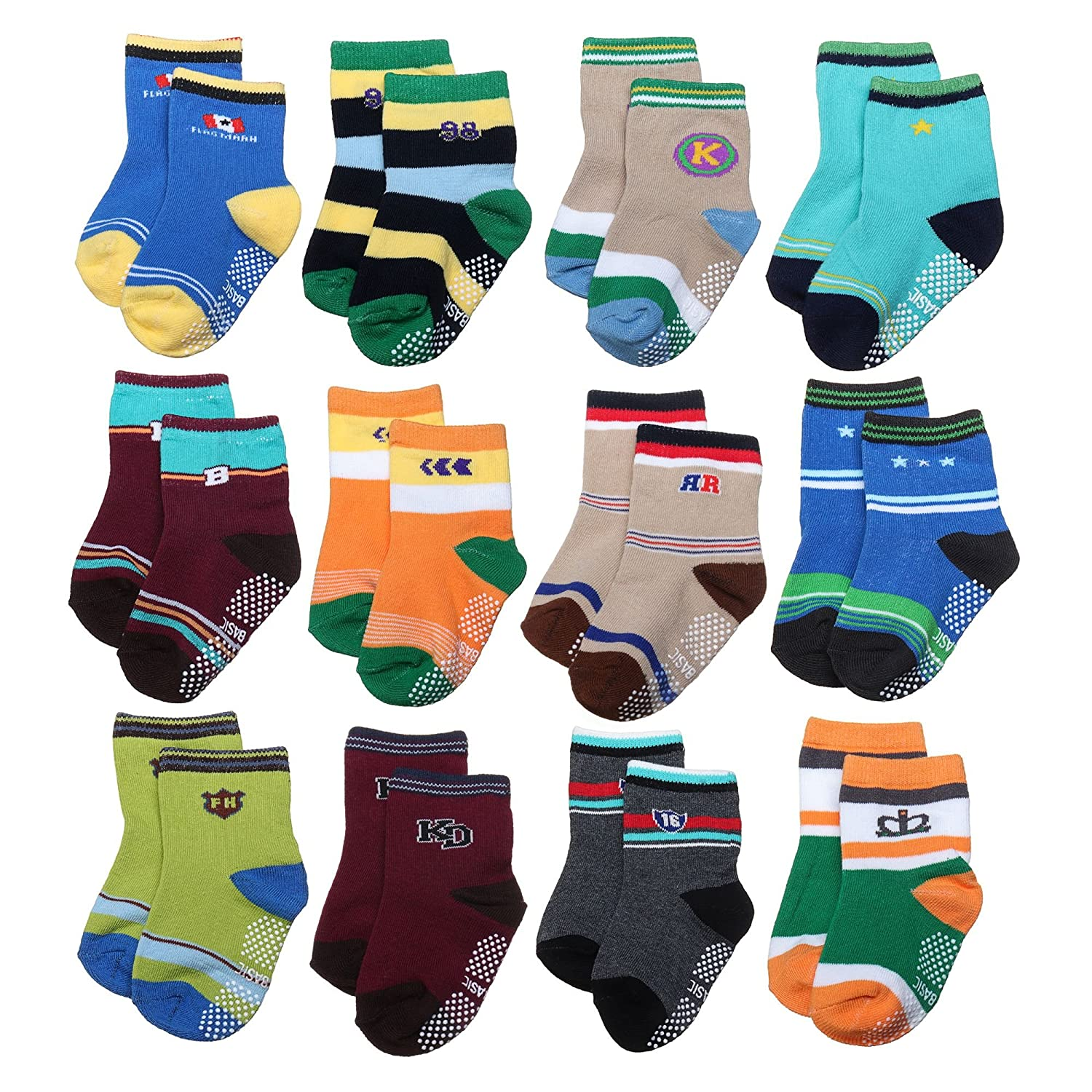 ShoppeWatch 12 Pairs Baby Toddler Socks with Grips Anti-Slip Non-Skid Bottoms For Kids Infant Babies Boys 2T and 3T Walkers BBSK45B