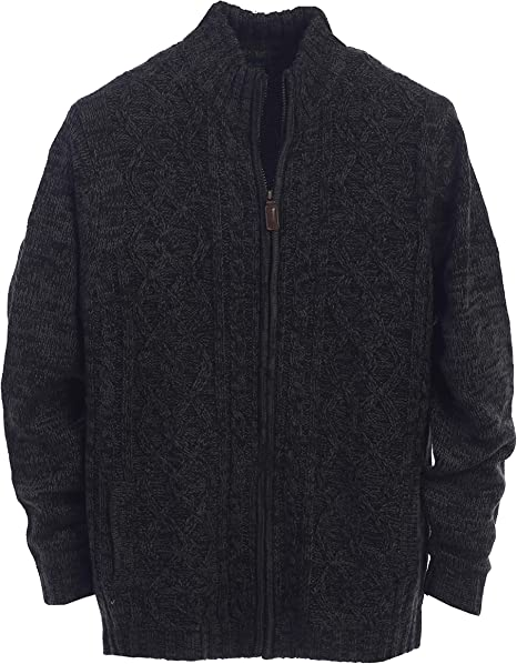 Super frist Mens Casual Stand Collar Cable Knitted Full Zipper Cardigan Sweater