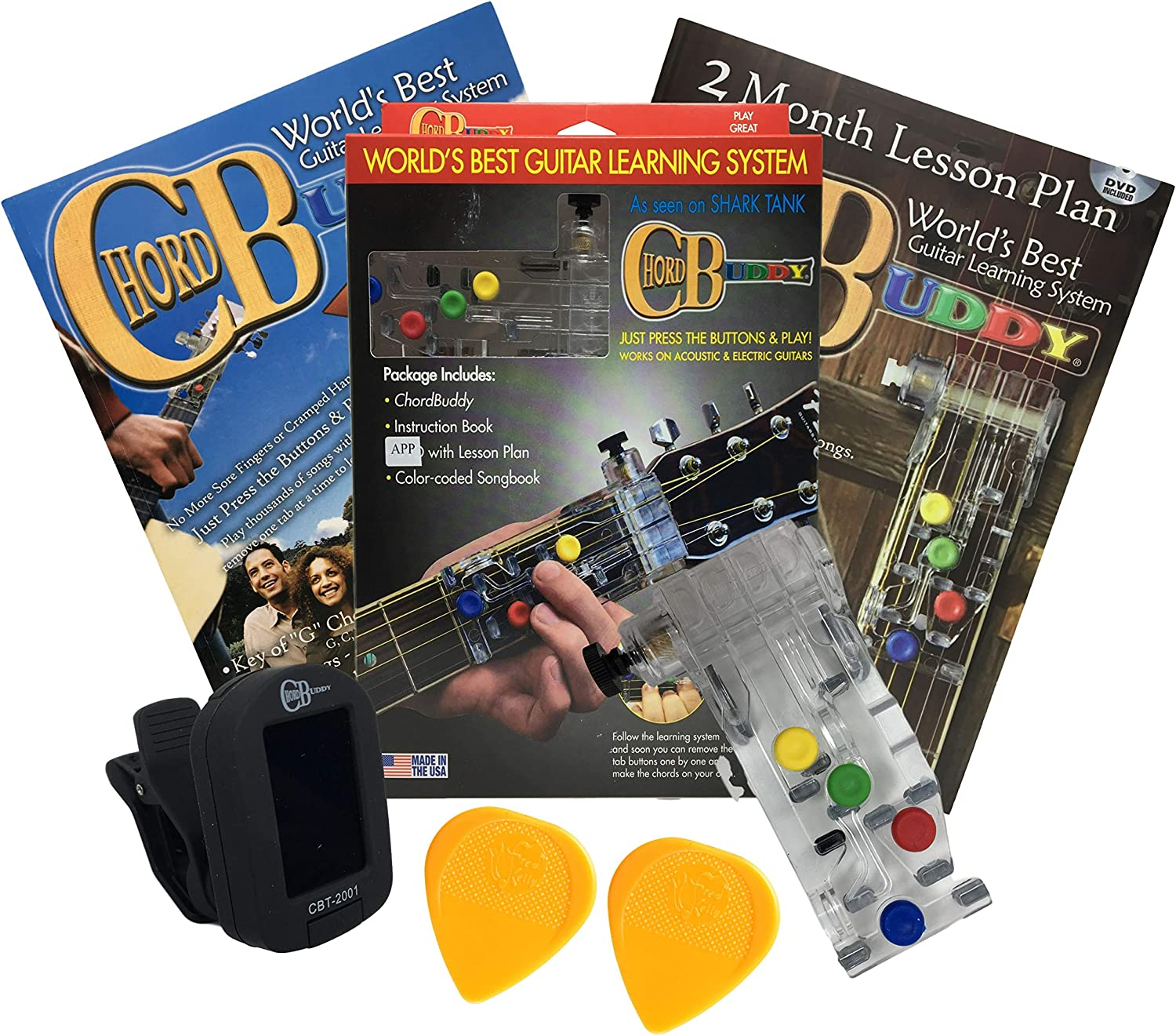 /— Bundle of Guitar Accessories for Beginners Clip-On Chromatic Tuner ChordBuddy Guitar Learning System Black 2 Pieces and Fred Kelly Delrin Flat Guitar Picks