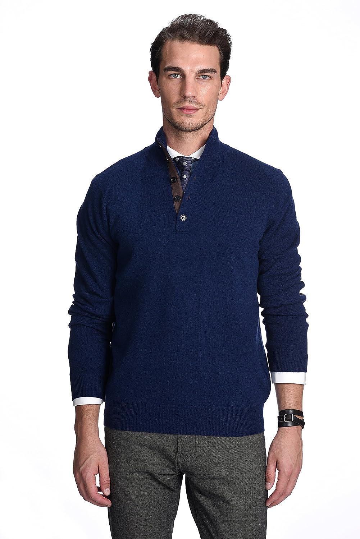 State Cashmere Uomo 100/% Puro Cashmere Lupetto con Bottoni Polo Pullover