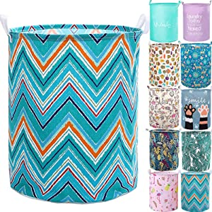 """YOMFUN Collapsible Laundry Basket for Kids,Large Laundry Hamper Teal Foldable Dirty Clothes Laundry Basket Waterproof for Adults,Boys,Girls,Dorm,Toys Organizer 19.7""""(Wave,L)"""