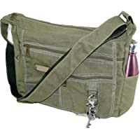 NISUN Imported Jeans Cross Body One Side Bag For Travel College Office 13x4.5x10 inch Olive