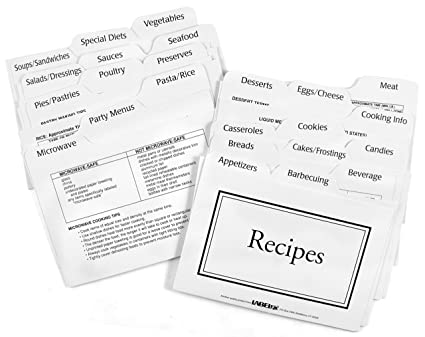 Amazon Com Recipe Card Divider 3 By 5 Inch Set Recipe Holders
