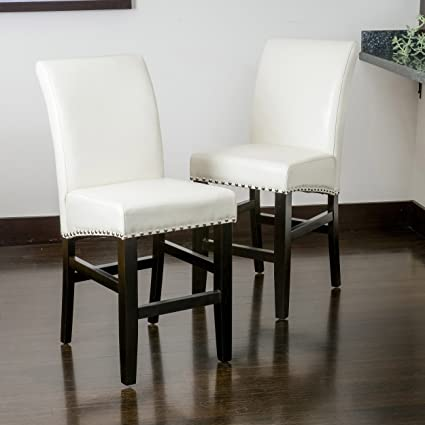 Outstanding Amazon Com Best Selling Louigi Ivory Leather Counter Stool Bralicious Painted Fabric Chair Ideas Braliciousco