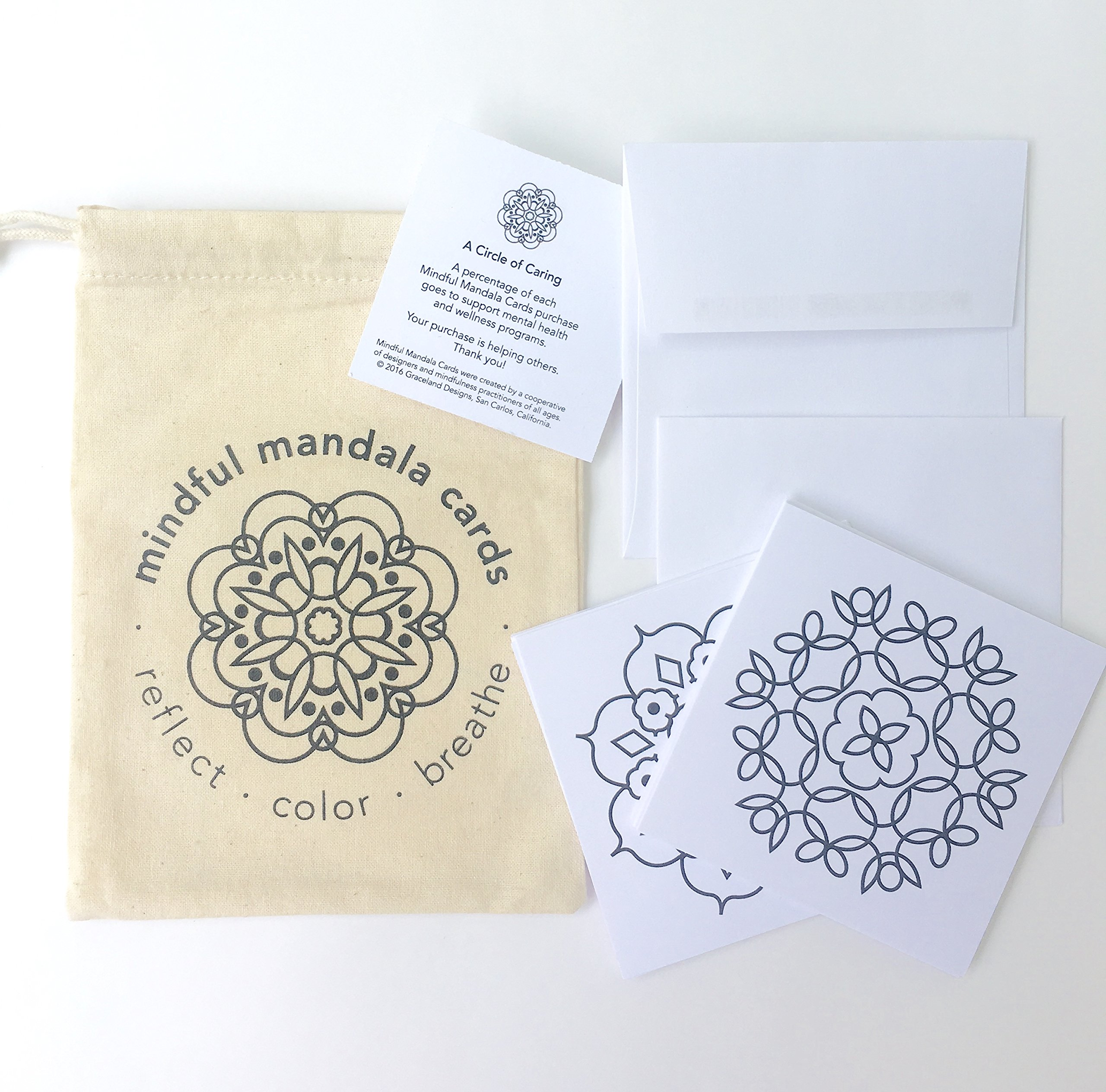Mindful Mandala Cards: Set of 12 gift enclosure mindfulness coloring cards, with envelopes, in a cotton tote. Each two-sided card has an original mandala to color, paired with an inspiring quotation.