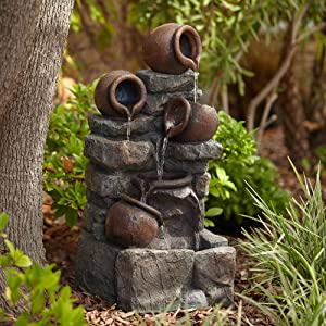 """John Timberland Pot and Rocks Rustic Outdoor Floor Water Fountain with Light LED 32"""" High Cascading for Yard Garden Patio Deck Home"""