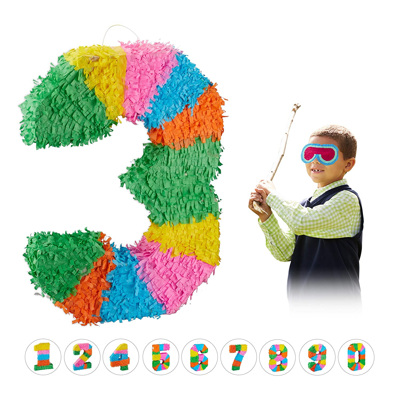 Relaxdays- Piñata Cumpleaños Número 3 sin Relleno, Papel,, 50,5 x 35,5 x 7,5 cm (10025189_905)
