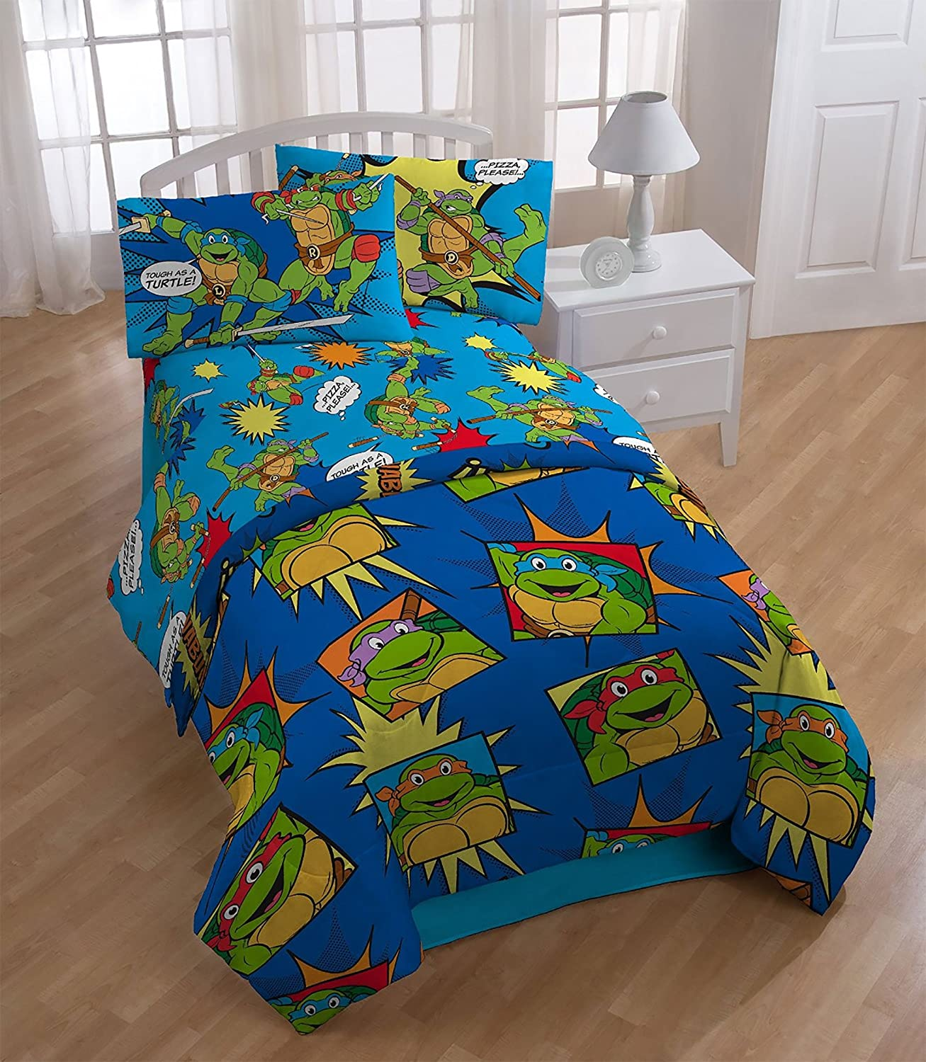 4pc Teenage Mutant Ninja Turtles Twin Bedding Set TMNT Team Turtles Comforter and Sheet Set