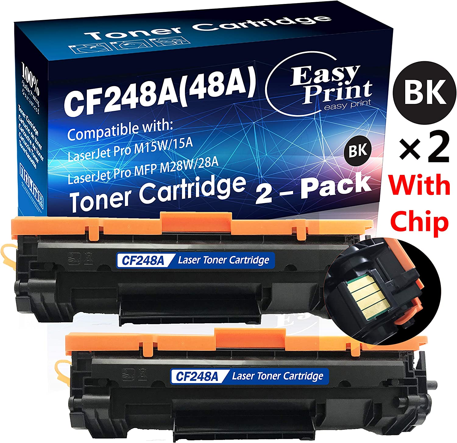 (2-Pack) Compatible 48A CF248A Toner Cartridge 48A Used for HP Laserjet Pro M15w M15a MFP M28w M28a Printer (2X Black), by EasyPrint
