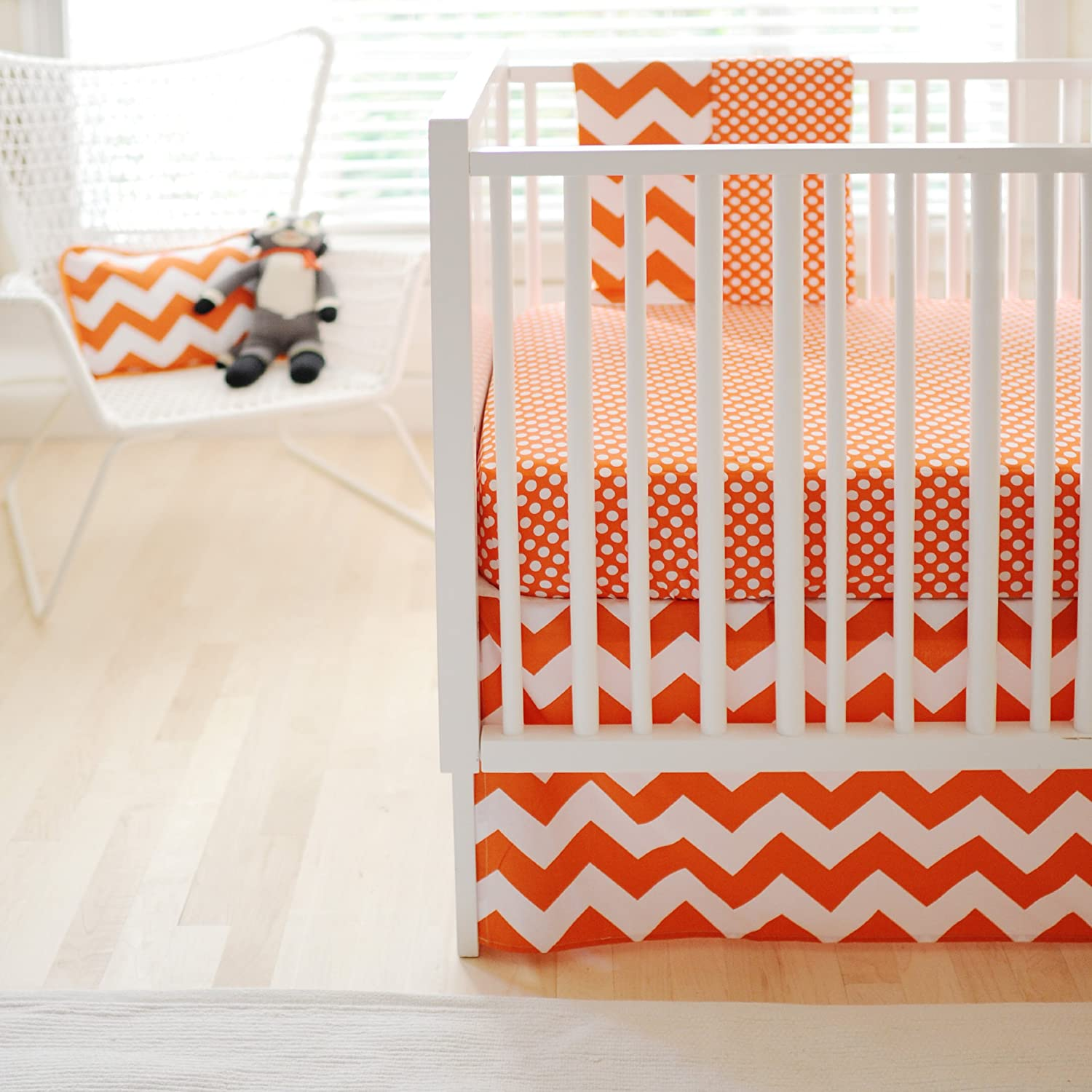 New Arrivals Zig Zag Baby 2 Piece Crib Bedding Set, Tangerine