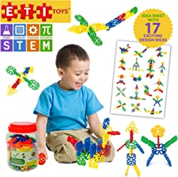 ETI Toys | STEM Learning | 80 Piece Konnect'in Geometry Snowflakes; Build Rocket, Dog and More! 100% Non-Toxic, Fun, Creative Skills Development! Best Gift, Toy for 3, 4, 5 Year Old Boys and Girls