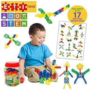 ETI Toys, STEM Learning, 80 Piece Konnectin Geometry Snowflakes. Build Rocket, Dog and More. 100 Percent Non-Toxic, Fun, Creative Skills Development. Gift, Toy for 3, 4, 5 Year Old Boys and Girls