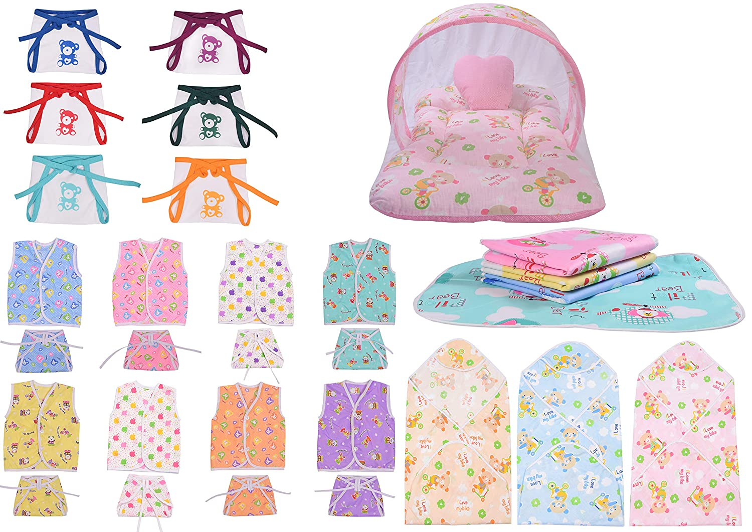 Baby Fly Baby Combo Pack of 8 Cotton Jhabla with 8 Cotton Nappies/Langot, 1 Net Bed, 3 Blankets, 4 Nappy Changing Mat and 6 Hosiery Cloth Nappies/Diapers (0-6 Months)