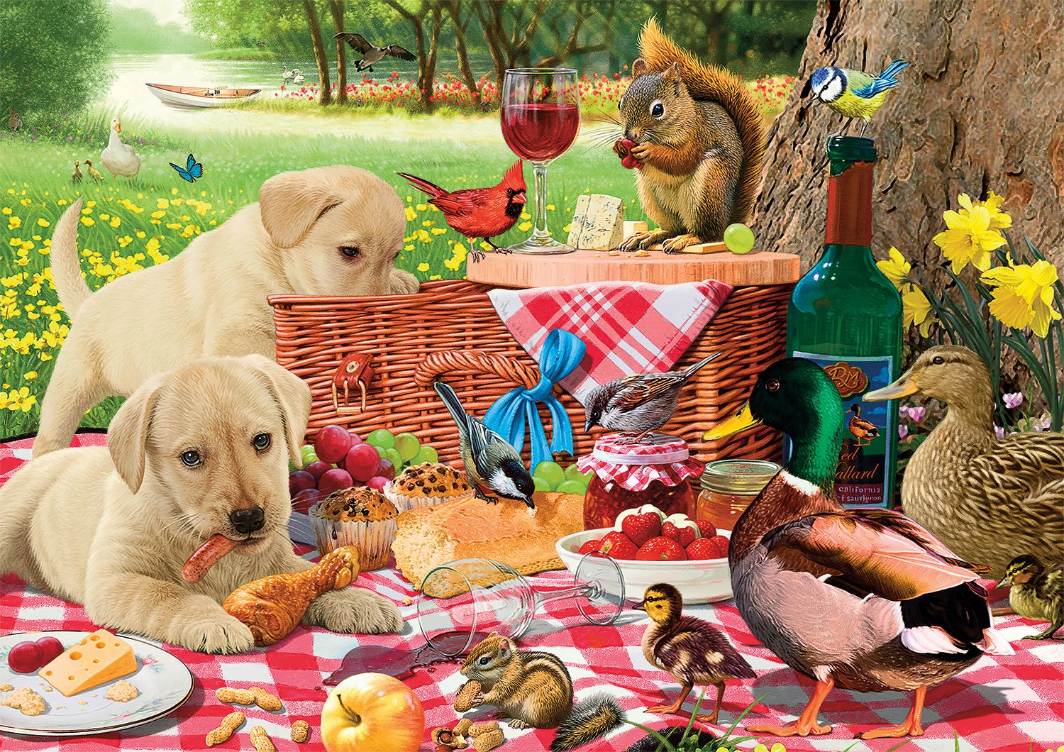 Buffalo Games - Adorable Animals - Picnic Raiders - 300 Large Piece Jigsaw Puzzle by Buffalo Games (Image #1)