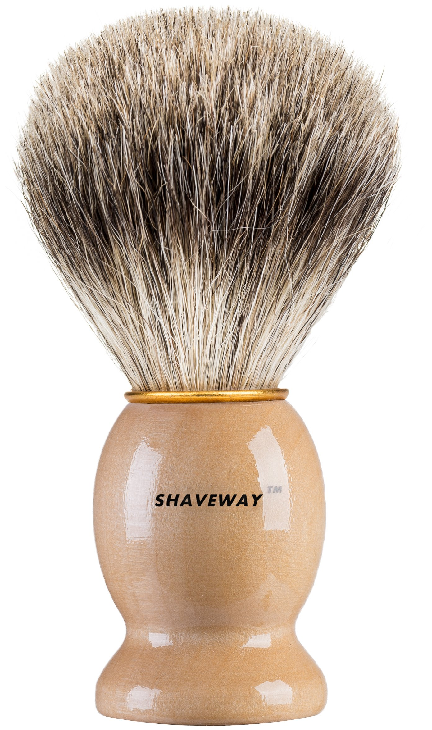 Shaveway 100% Original Pure Badger Shaving Brush. Engineered for the Best Shave of Your Life.For all methods,Safety Razor,Double Edge Razor,Staight Razor or Shaving Razor, This is the Best Badger Brush.