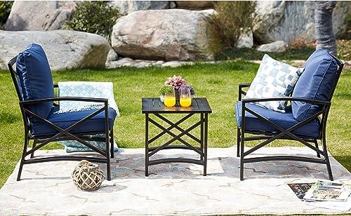 LOKATSE HOME 3 Piece Outdoor Patio Chairs Set