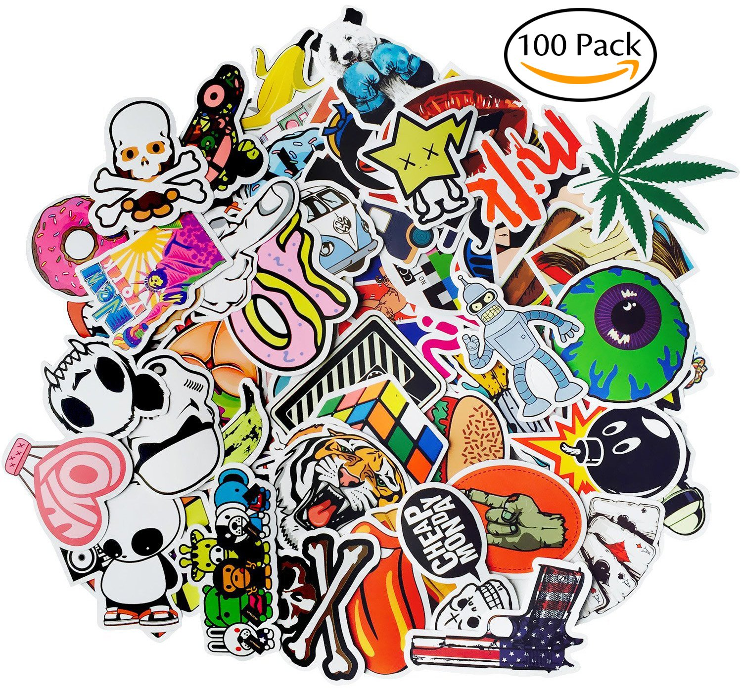 Amazon laptop stickers 100 pcs leyaron vinyl car stickers amazon laptop stickers 100 pcs leyaron vinyl car stickers motorcycle bicycle luggage decal graffiti patches skateboard stickers for laptop random amipublicfo Gallery