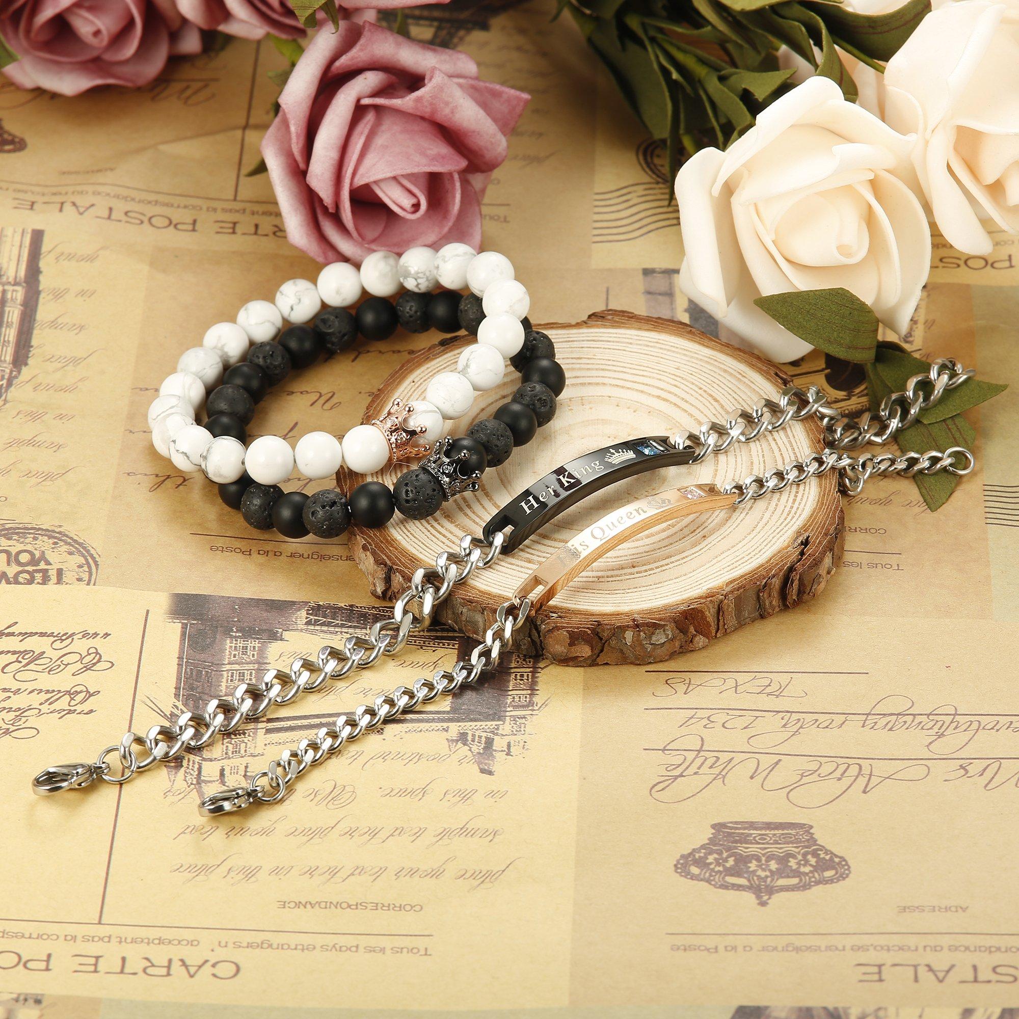 FIBO STEEL 4 Pcs Couples Bracelet for Men Women His & Her Crown Queen Bracelets Set 8mm Beads Bracelets by FIBO STEEL (Image #5)