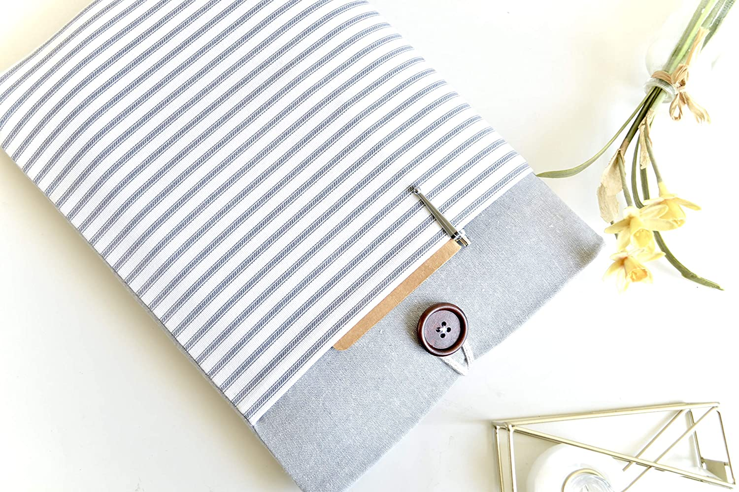 "11"", 13"", 15.6"" Laptop Sleeve Case, MacBook Air, New Pro, Chromebook, Custom Size Cover - Gray Stripes"