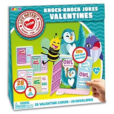 JOYIN 28 Pack Valentines Day Gift Cards Of Knock Knock Jokes with An Open Door and Cute Animal Cartoon for Valentine's Classroom Exchange Prizes Valentine Party Favor Toys: Toys & Games