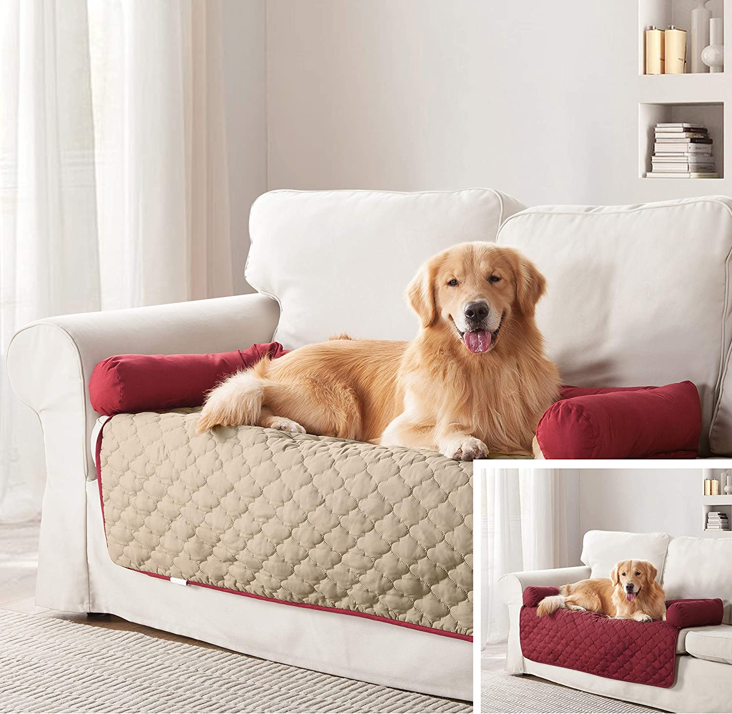 Quick Fit Wubba Reversible Pet Bed Couch Cover for Dogs 21x34 Garnet-Natural