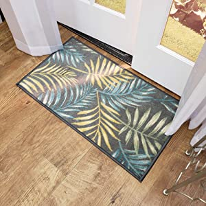 "Maxy Home Adaline Coastal Floral Soft Cut Pile Non Slip 18"" x 31"" New Trend Indoor Door Mat, Grey"