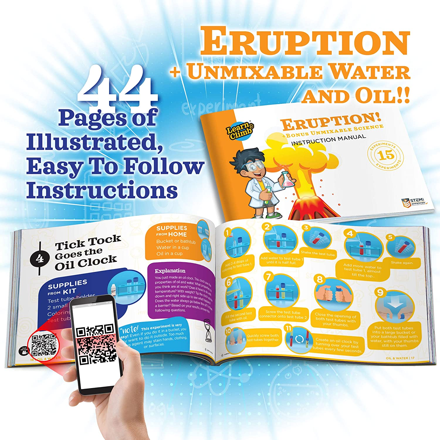 Amazon.com: Exploding Science Experiments Kit for kids - 8 Volcano  Chemistry Eruption Science Projects in Set. Everything Included +  Instruction Manual: ...