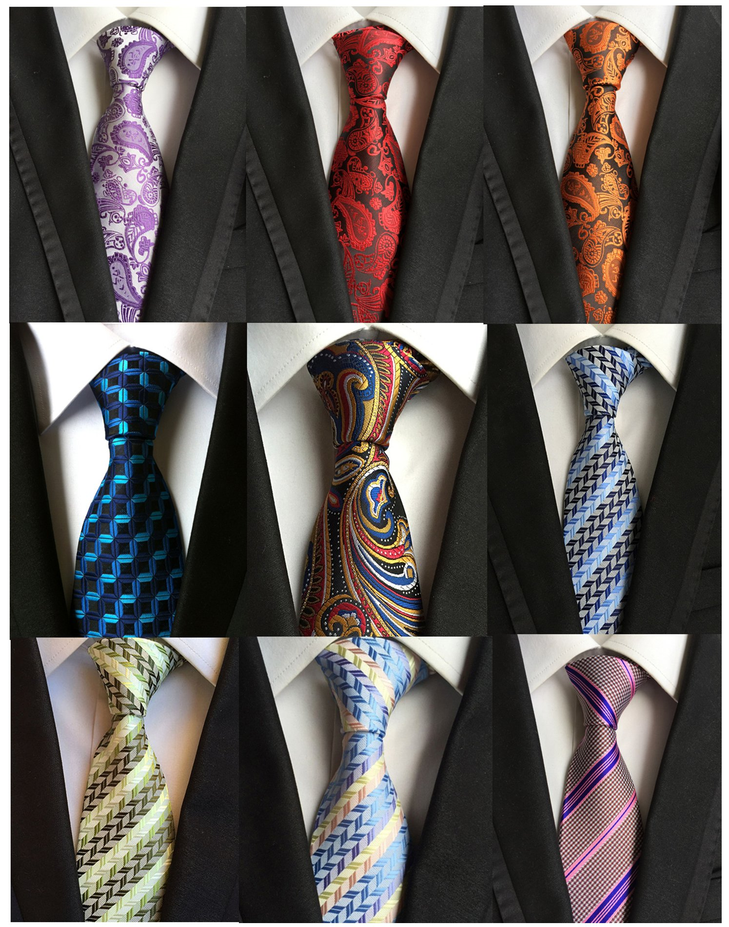 Welen Lot 9 PCS Classic Men's Tie Necktie Woven JACQUARD Neck Ties (Style 06)