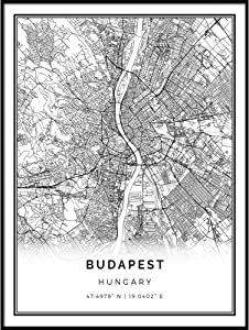 Squareious Budapest map Poster Print | Modern Black and White Wall Art | Scandinavian Home Decor | Hungary City Prints Artwork | Fine Art Posters 8.5x11