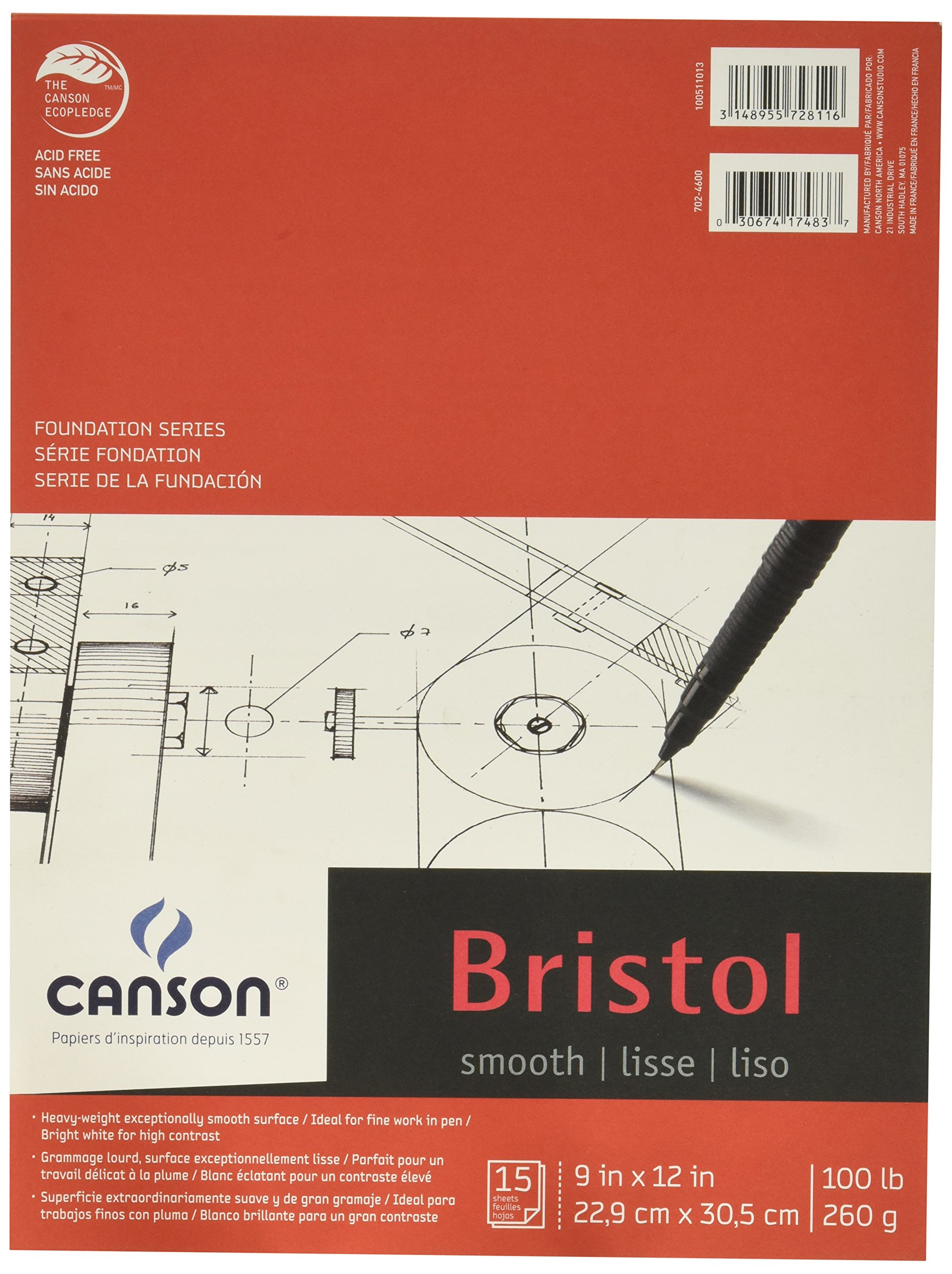 Canson Foundation Series Bristol Paper Pad, Heavyweight Paper for Pencil, Vellum Finish, Fold Over, 100 Pound, 19 x 24 Inch, Bright White, 15 Sheets
