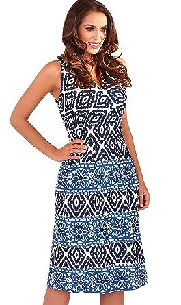 Dazzling Ladies 100% Cotton Aztec Print Sleeveless Short Summer Beach  Holiday Dress 45a496422