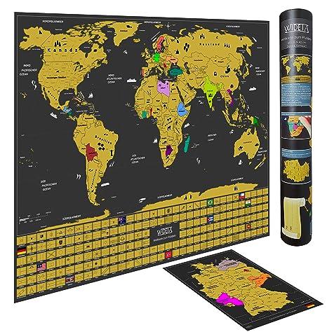 Wideta Weltkarte Zum Rubbeln In Deutsch Mit Landerflaggen Grosse Xl