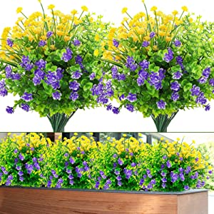 Whonline 8 Bundles Artificial Plastic Shrubs Flowers Outdoor UV Resistant Plants for Garden Wedding Farmhouse Indoor Outdoor Decor
