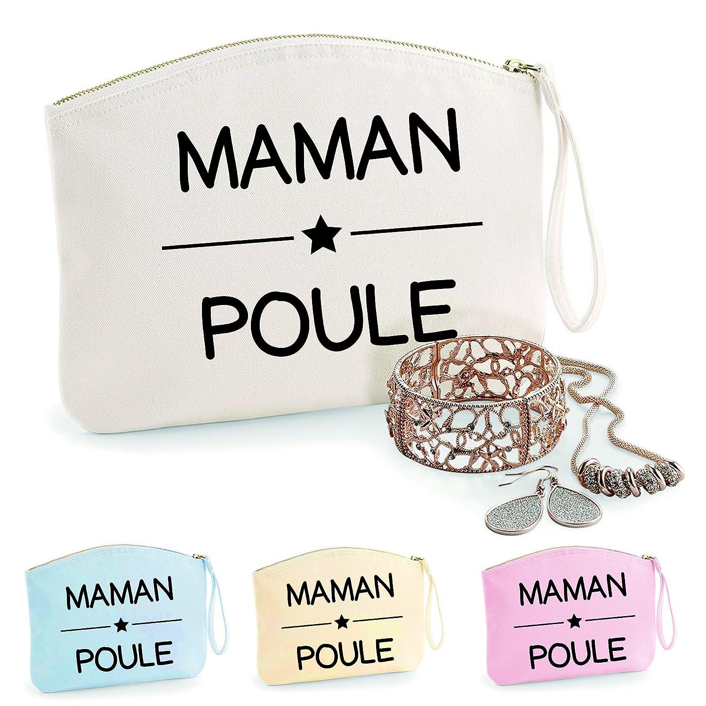 Trousse Maman Poule, coton BIO, existe en 2 tailles, trousse de toilette, pré nom, cadeau anniversaire, fê te des mè res, trousse bijoux, sacoche prénom fête des mères