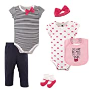 Hudson Baby Unisex Baby Layette, Bows, 6-Piece Set, 0-3 Months (3M)