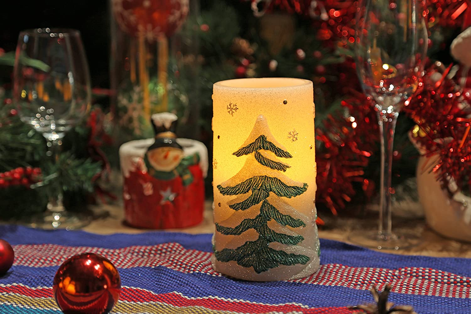 amazoncom christmas tree flameless led candle lights with timer 3x6 inches for home decor home improvement