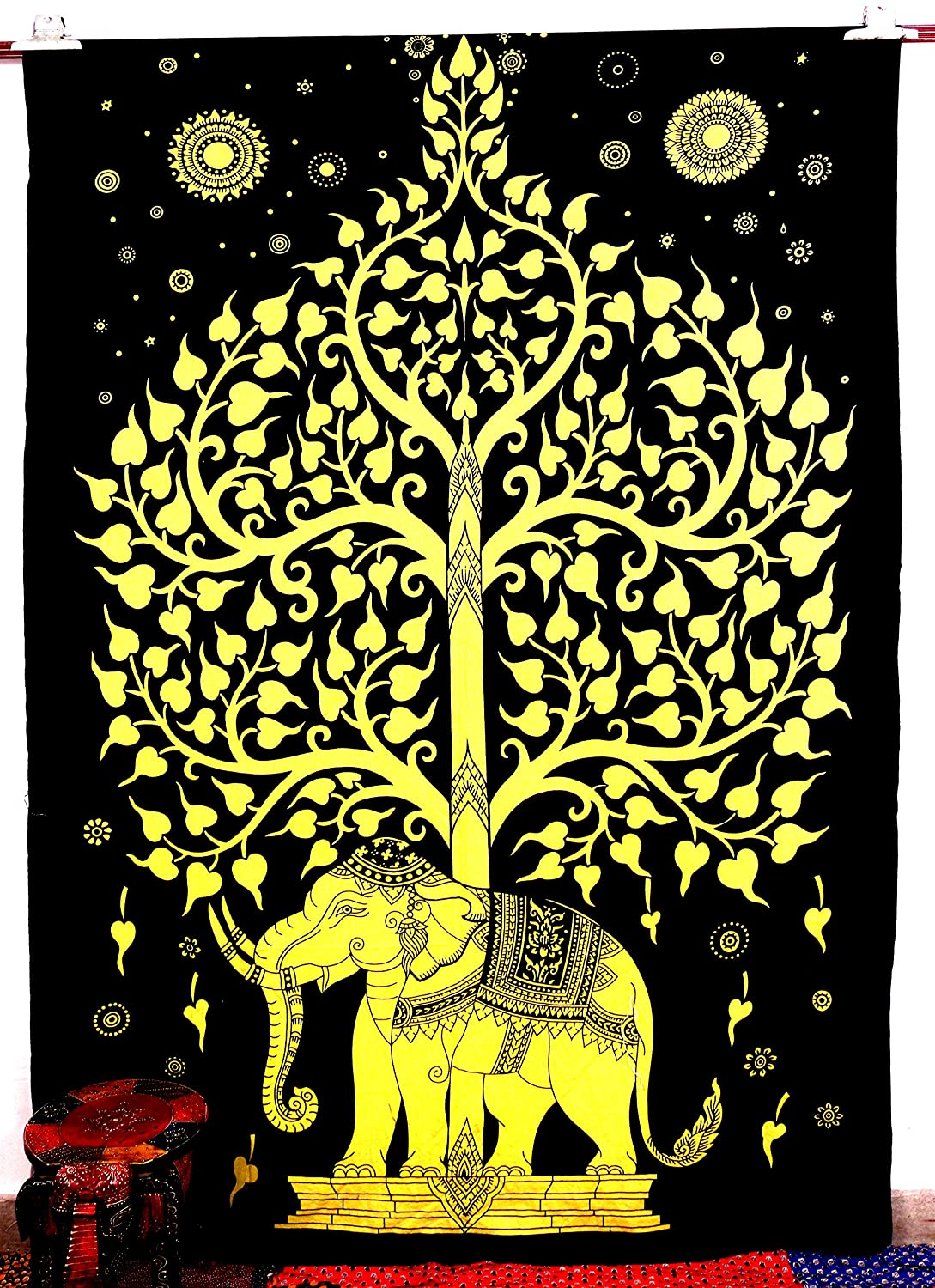 Amazon.com: Handicrunch Elephant Tree Tapestry ,Good Luck Yellow ...