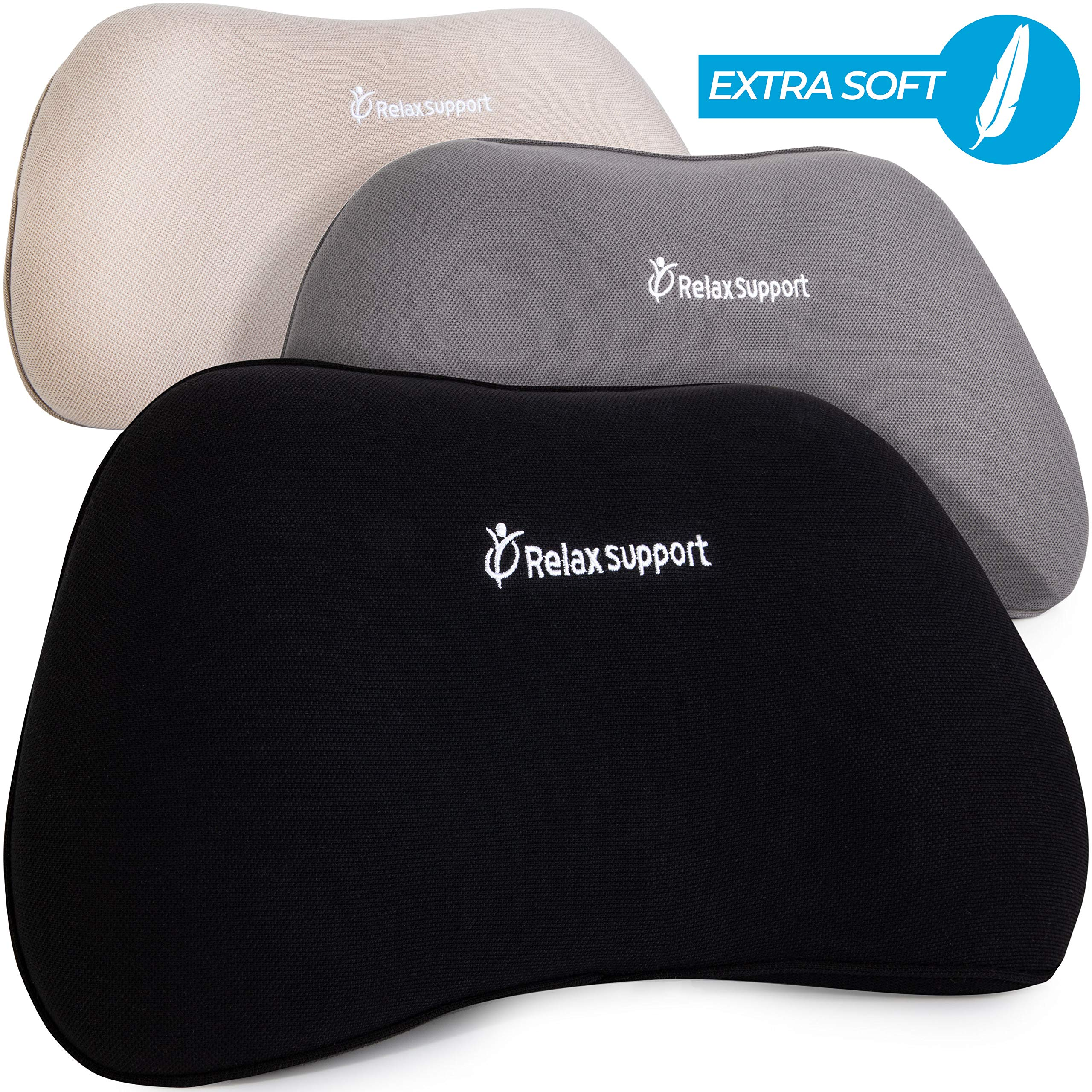 Soft RS1 Back Support Pillow by RelaxSupport - Lumbar Pillow Upper and Lower Back for Chair Back Pain Uses ArcContour Special Patented Technology Has Unique Lateral Convex Shape for a Pain Free Back by RELAX SUPPORT