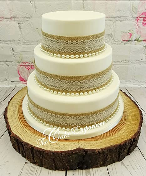 VINTAGE RUSTIC WEDDING CAKE 50mm HESSIAN LACE RIBBON WITH PEARLS TOPPER SET