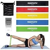 Fasce Elastiche di Resistenza / Bande Fitness con Guida Scaricabile agli Esercizi e Sacchetto, Set di 5 Elastici -- 5x cinghia, banda, fascia elastica per resistance training, yoga, pilates, fisioterapia, cinghie per allenamento crossfit
