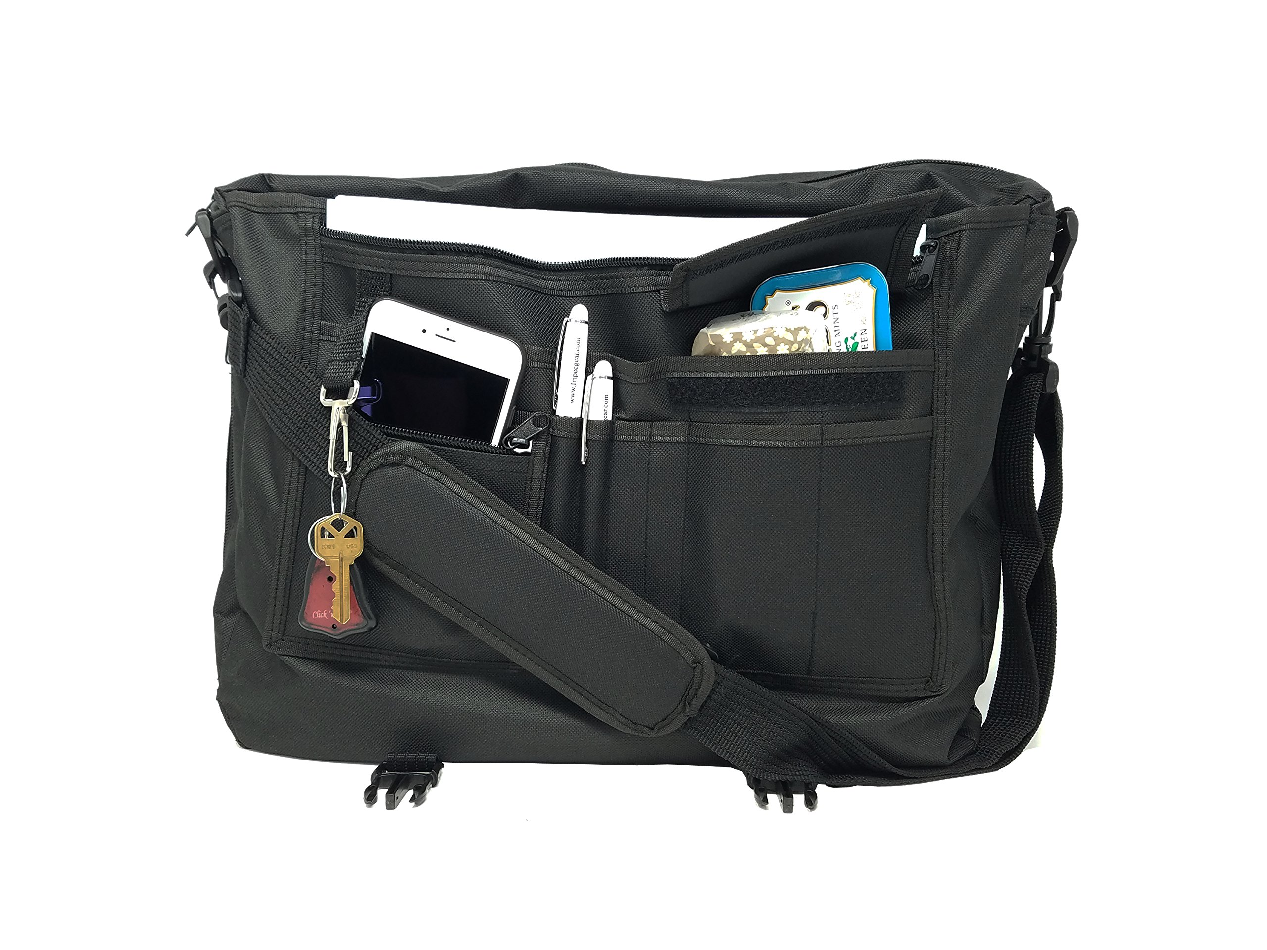 ImpecGear Expandable Portfolio Polyester Adjustable w/Strap (Pack of 12 (Black))