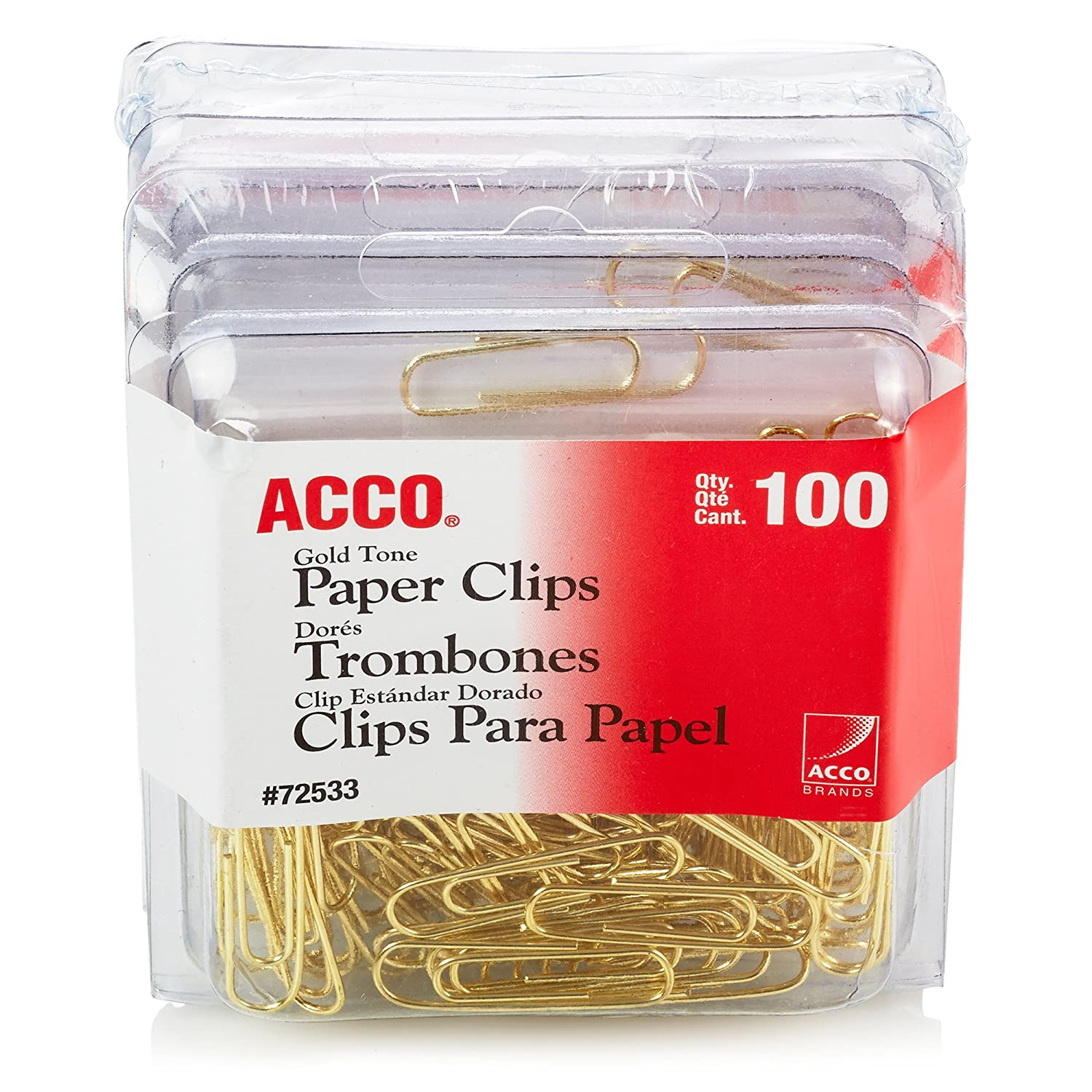 Smooth Finish 4-Pack 2 Size ACCO Gold Tone Clips A7072554 100//Box 400 Clips Total