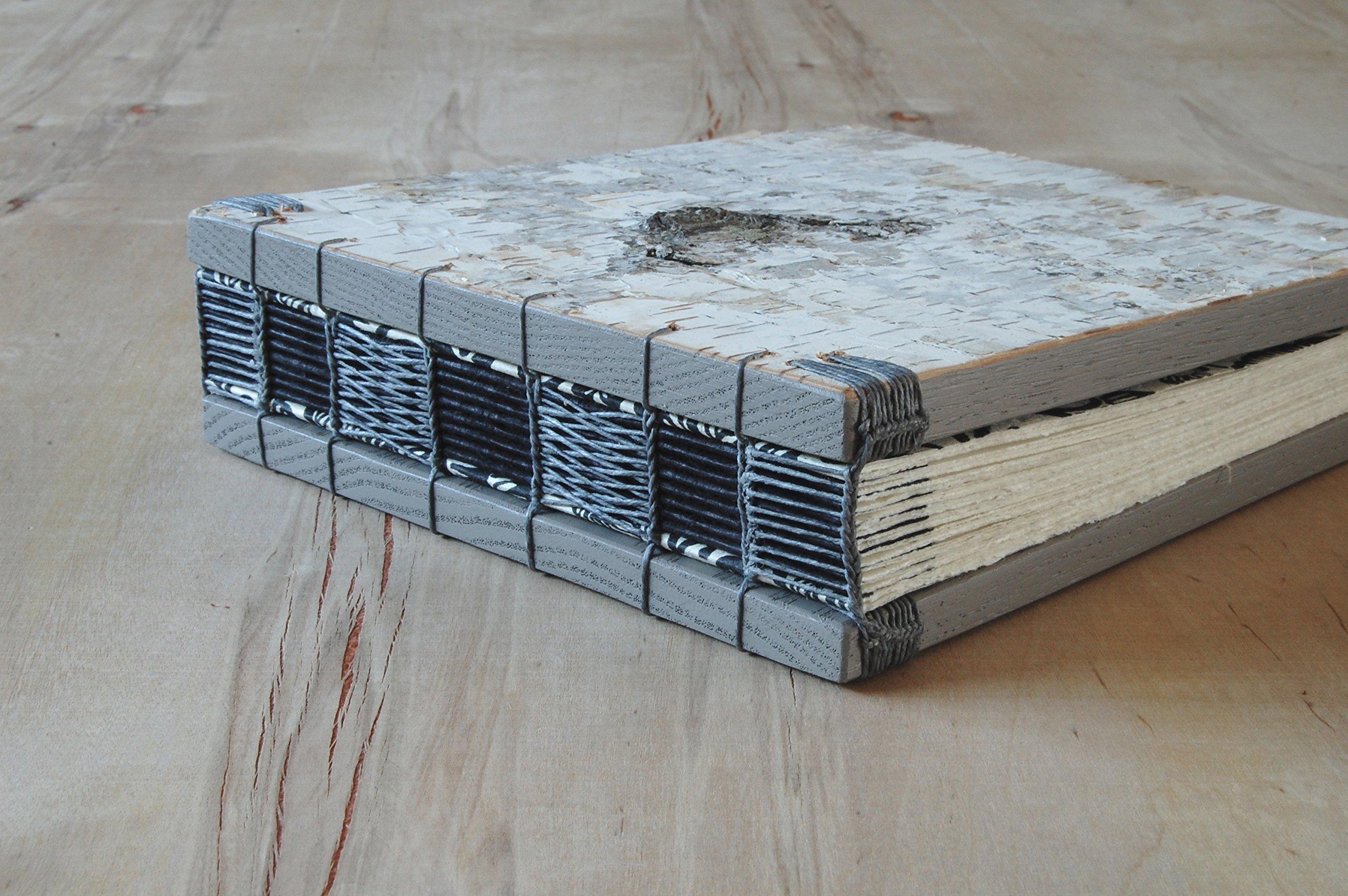 Birch Wood Wedding Guest Book or Handmade Journal by Three Trees Bindery