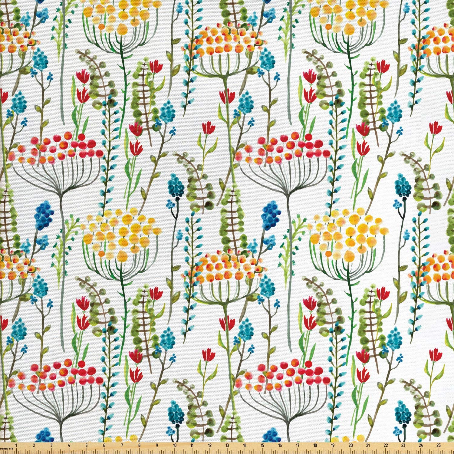 Lunarable Floral Fabric by The Yard, Hand Drawn Doodle Style Flowers Blossoms in Watercolors Natural Botanical Garden Art, Decorative Fabric for Upholstery and Home Accents, 2 Yards, Magenta Yellow