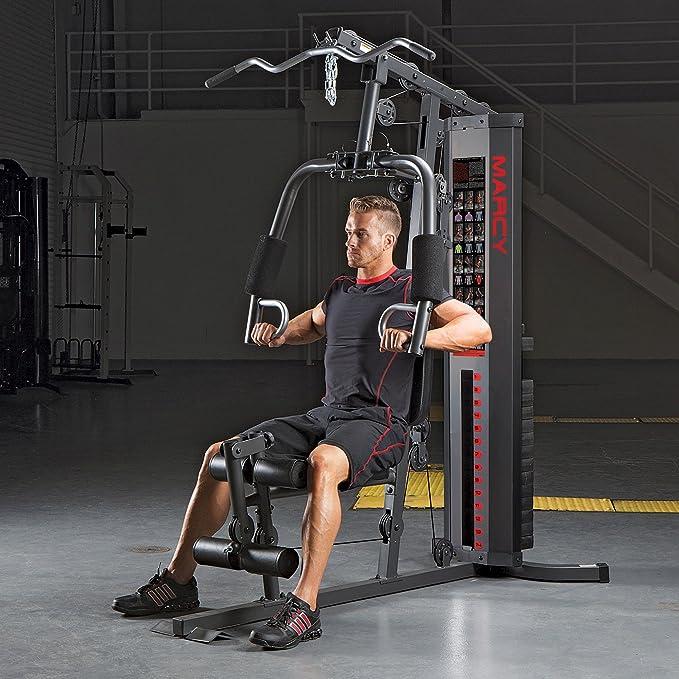 Marcy Multigym HG3000 Eclipse-Máquina de Musculación Multiestación-Carga Guiada-Gimnasio Multifunción-Brazos Press-Curl piernas y bíceps-Poleas-Remo: ...