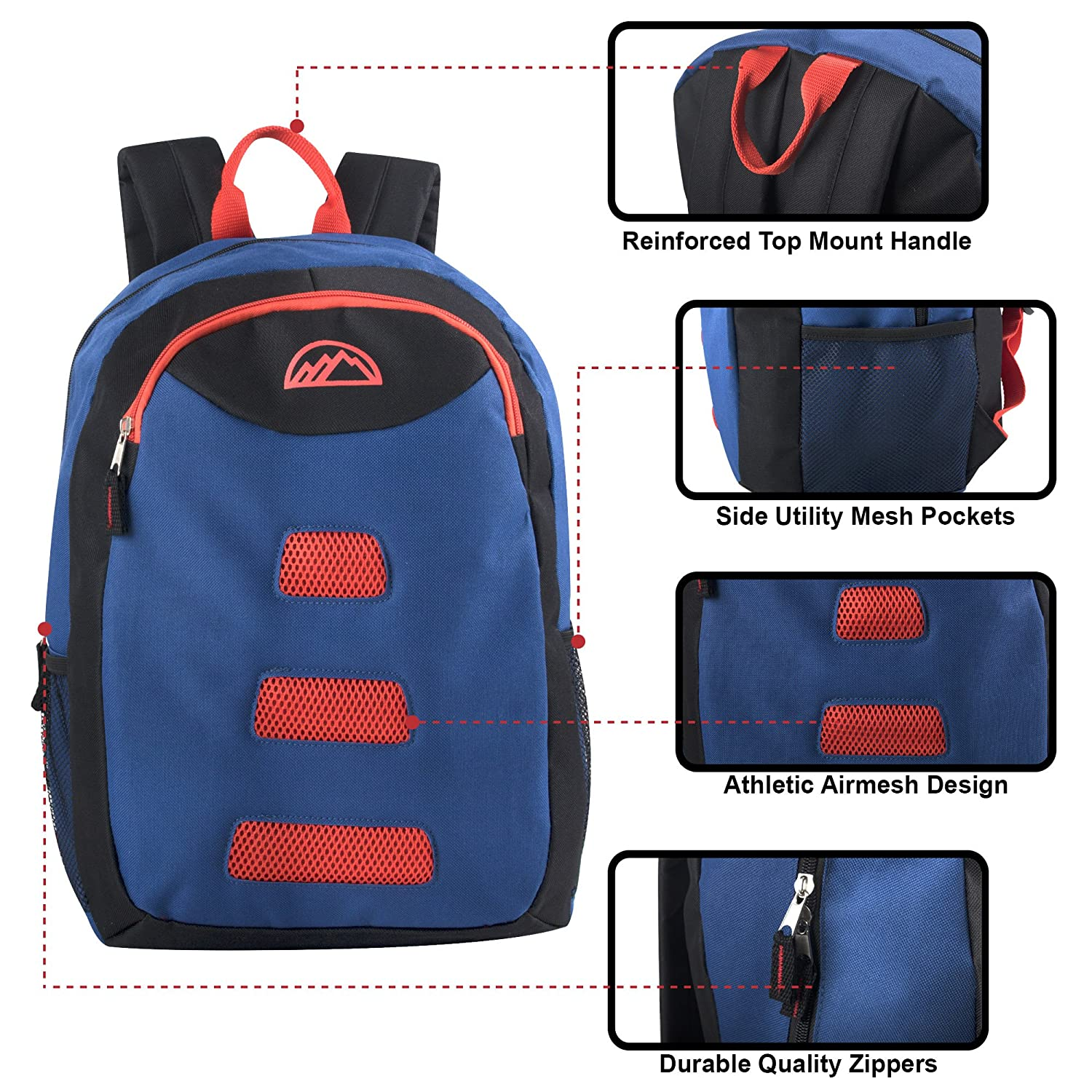 d65a95d6dda3 Mountain Edge Pop Color Zipper Backpack with Padded Adjustable Straps and  Front Accessory Pocket