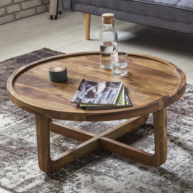 Wohnling Couchtisch Massiv Holz Sheesham Rund 85 Cm Wohnzimmer Tisch