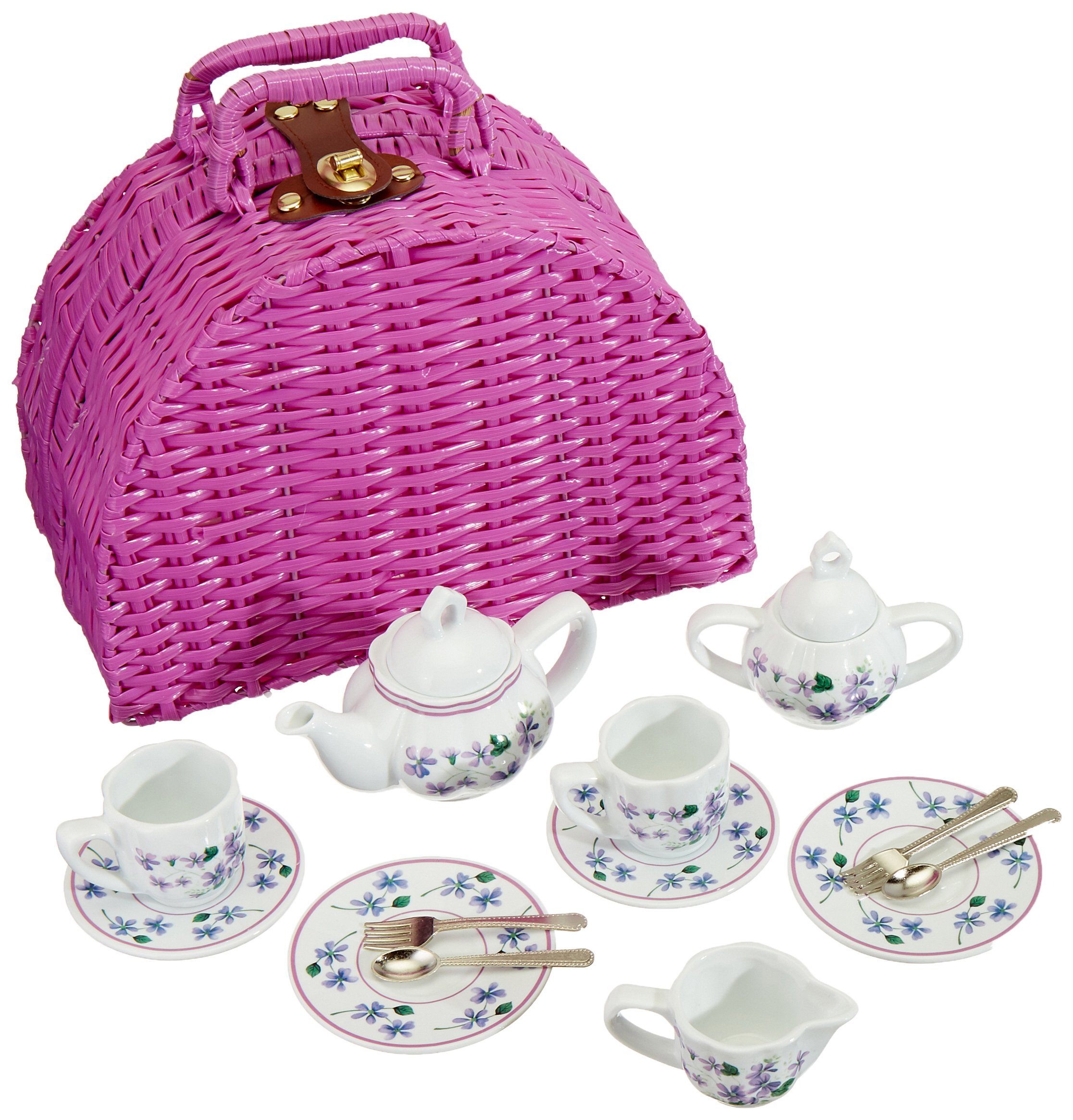 Delton Products Dollies Tea Set in Basket, Purple/Violet by Delton Products (Image #2)
